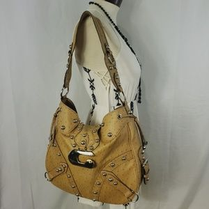 👜Gorgeous GUESS Faux Leather Ostrich Print Hobo